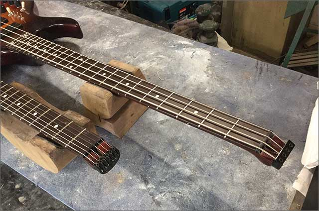Wilkes Guitars Left Handed Twin Neck Headless Bass