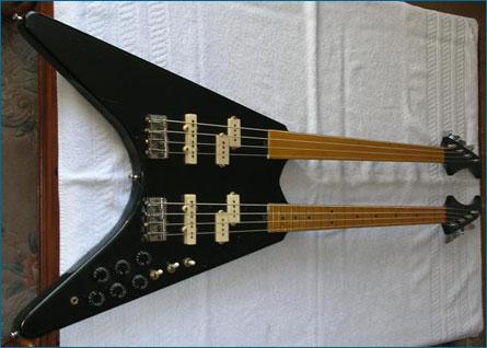 the fretted fretless twin neck flying v basses wilkes guitars. Black Bedroom Furniture Sets. Home Design Ideas