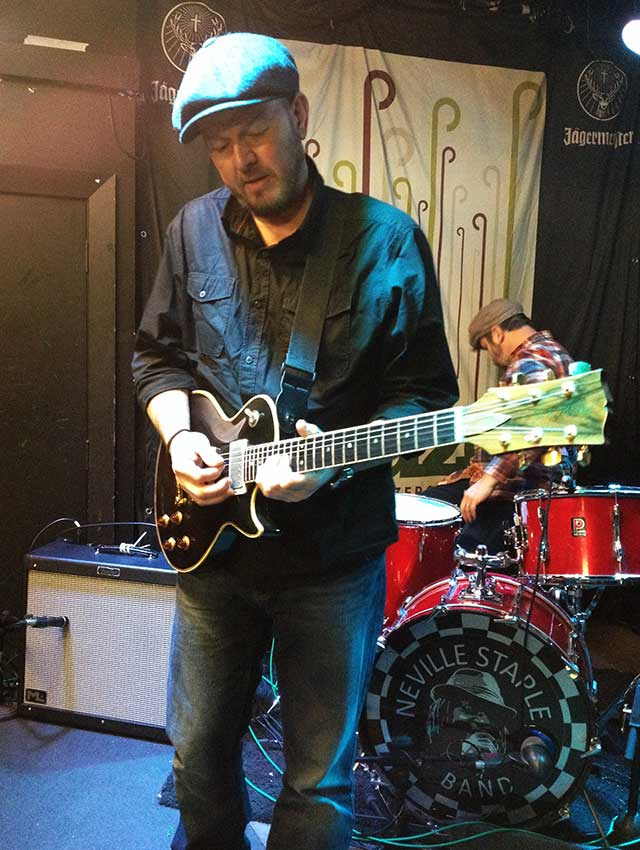 Carl Moreton with Doug Wilkes inspired Les Paul playing with The Neville Staple Band