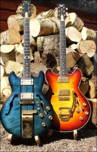 Wilkes Guitars semi-blue-sunburst